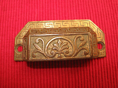 Antique Eastlake Brass Victorian Ornate Drawer Pull Handle B Grecian Key