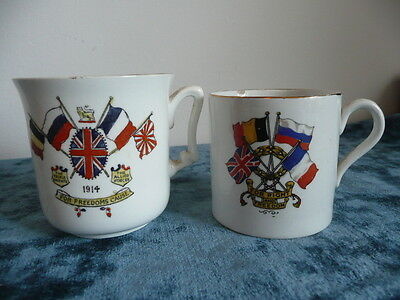 Antique Commemorative WW1 Sutherland China Freedom Cup & Coffee Can 1914.