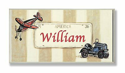 The Kids Room by Stupell William, America License Plate with Plane and Automobil