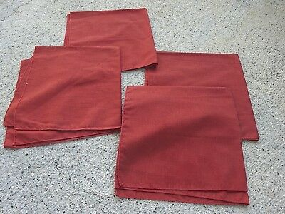 Vintage RUST Colored Fabric Dinner Napkins Lot of 4