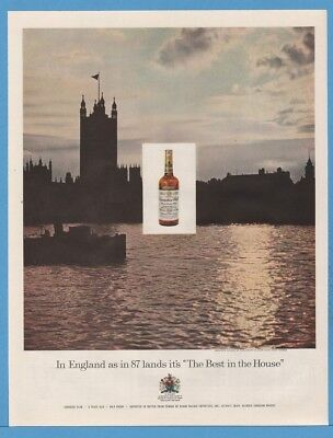 1959 House of Parliament London UK River Thames Canadian Club Photo ad
