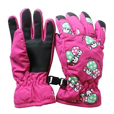 Non-slip, for 2-4 year old children, ski skate gloves (pink, red) J7U7