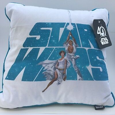 Disney Star Wars 40th Anniversary Square Decorative Pillow Leia Luke Skywalker