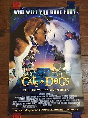 Cats & Dogs (2001) Authentic One Sheet Double Sided Movie Theater Poster