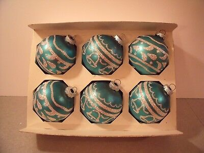 """Vintage Shiny Brite glass ornaments turquoise blue silver glitter 2 1/2"""""""