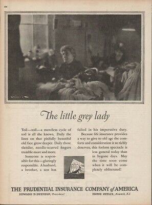 1925 Prudential Life Insurance Newark NJ Little Grey Lady Toil Vintage Print Ad