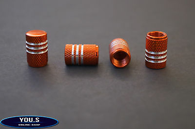 4 Pcs Orange with Silver Rings Aluminum Valve Caps for cars car truck motorcycle