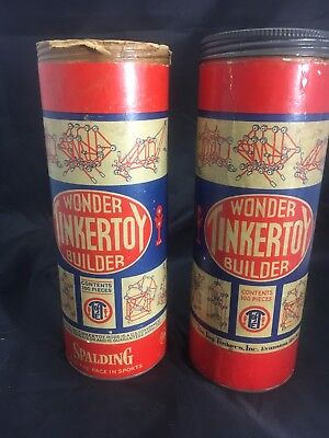 Vintage 1953  Tinkertoy  Wonder Builder 2 containers