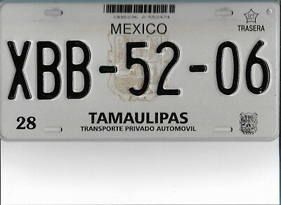 TAMAULIPAS   Mexico  License  Plate   XBB - 52 - 06   EXCELLENT   Condition