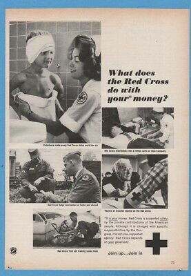 1965 American Red Cross volunteer blood disaster First Aid training print ad