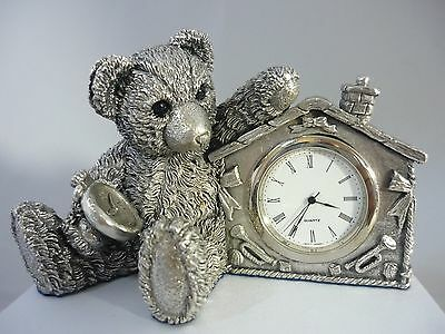 Stunning Rare & Large Sterling Silver Teddy Bear Clock By Country Artists