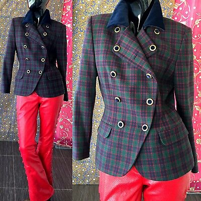 Vintage 80s Velvet Plaid Blazer Lord Taylor Wool Beaded Tartan Holiday Jacket
