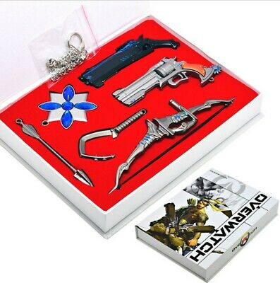 Hot 5pcs Overwatch Keychain Key Ring Set Gift Boxed Collection Game OW Cosplay