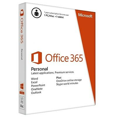 Office 365 Personal - 1 PC e 1 Tablet + 1TB One Drive + 60 min Skype