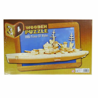 3D Wooden Puzzle HMS Prince of Wales Battleship Plywood Woodcraft Construction
