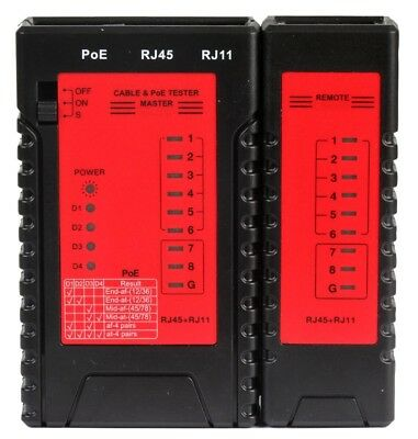 Network Cable Tester with PoE - Verifies RJ11 and RJ45 cables
