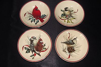 New in box Lenox Winter Greetings Dipping Bowls, Set of 4, Different Birds