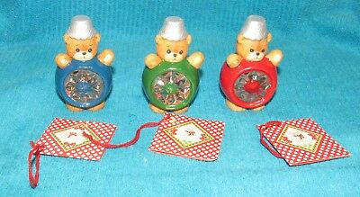 Lot of 3 NOS Lucy & Me Ball Ornament Bear Figurines Blue, Green & Red
