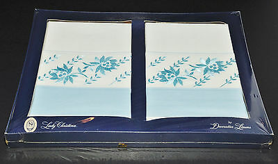 Vintage Lady Christina Linens Blue Embroidered Pillow Cases New Gift Box Retro