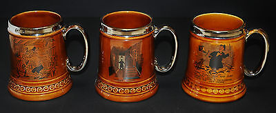 Lord Nelson Set Lot Of 3 Tankards Beer Mugs 1960's 1970's Collectible Platinum