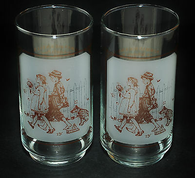 Pepsi Cola Collectible Glasses X2 Norm Rockwell Scholarly Pace 1949 Teacher Gift