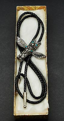 Authentic Western Canada Alberta Cowboy Leather Thunderbird Turquoise Bolo Tie