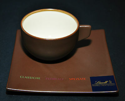 Lindt Maitres Chocolatiers Mocha Brown Coffee Tea Cup & Dessert Plate Saucer Set