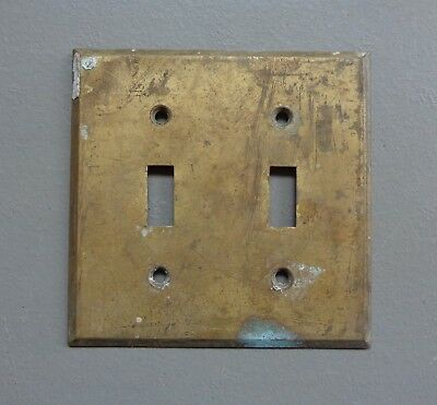 Vintage Double Light Switch Cover Plate Original Solid Tarnished Brass