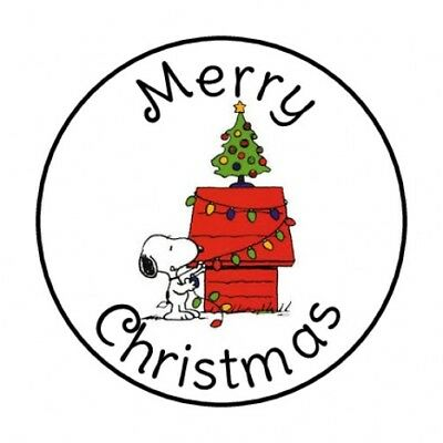 "48 Merry Christmas Snoopy Envelope Seals Labels Stickers 1.2"" Round"
