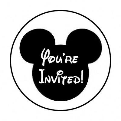 """48 You're Invited Mickey Mouse Envelope Seals Labels Stickers 1.2"""" Round"""