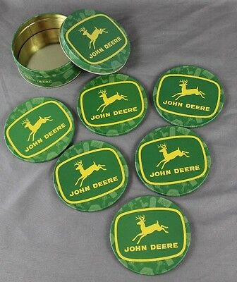 John Deere Metal And Cork Coasters In Tin Storage Container Never Used Set of 6