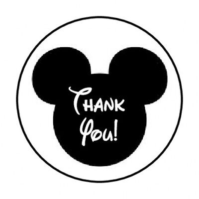 """48 Thank You Mickey Mouse Envelope Seals Labels Stickers 1.2"""" Round"""