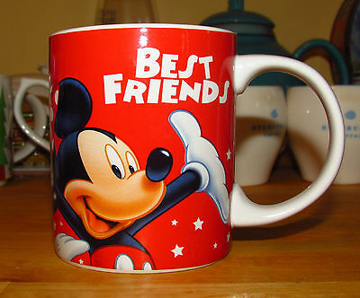 """MICKEY MOUSE """"Best Friends"""" Mug Cup with Minnie Mouse DONALD DUCK Goofy & Pluto"""
