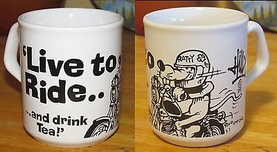 TEA & MOTORCYCLE Mug/Cup LIVE TO RIDE…AND DRINK TEA!  RATTY Rat '95 Artist Hilly