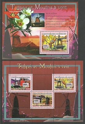 Guinea 2007 Flowers Tulips Architecture Windmills Set Of 4 M/sheets