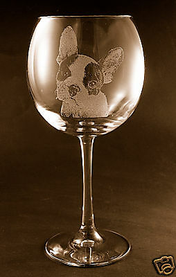 New Etched French Bulldog on Large Elegant Wine Glasses