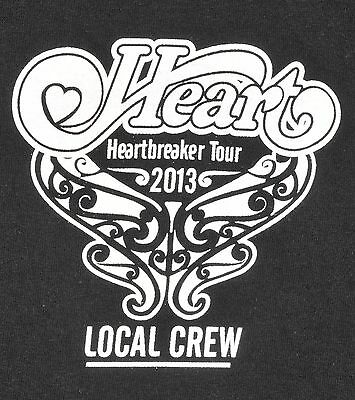 Heart Heartbreaker Tour 2013 Local Crew T Shirt XL Black