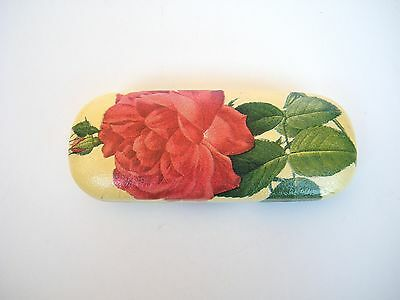 Hard eyeglasses case with red rose, spectacle case,hand made decorated,gift idea