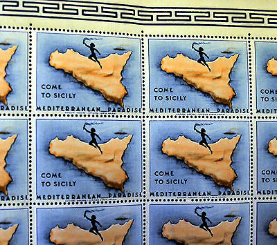 1940s Come to Sicily Medi Paradise Perforated Sheet of 40 Poster stamps MNH