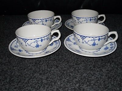 FURNIVALS (similar to MASONS) DENMARK TEA CUPS AND SAUCERS X 4