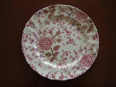 "Johnson Bros Rose Chintz 24.5 cm 9 5/8"" Dinner Plate Royal Warranty Back Stamp"