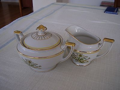 Heinrich H C Selb 15996 Gold Yellow Trim White Flowers Ribbon Sugar and Creamer.
