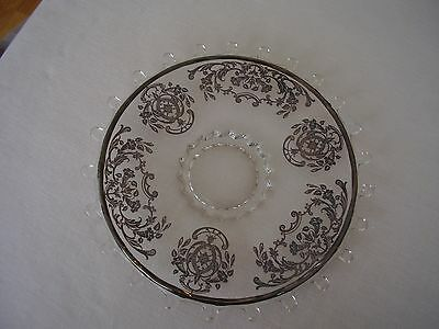 """Heisey Lariat 10"""" Round Footed Plate with Beautiful Silver Overlay FREE SHIPPING"""