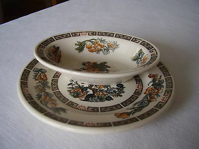 Syracuse China Restaurant Ware Indian Tree Small Oval Dish and Round Bread Plate