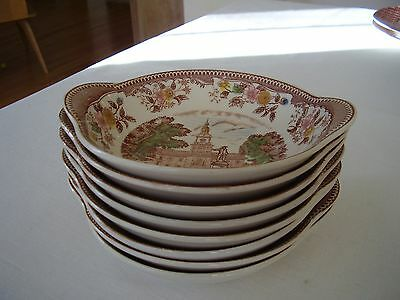 Johnson Bros (?) Independence Hall Tab Handled Bowls Set of Eight FREE SHIPPING.