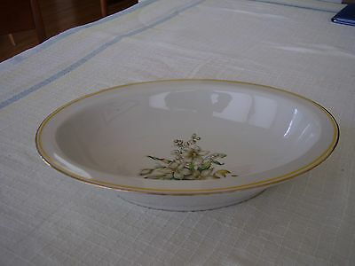 Heinrich H C Selb 15996 Gold Yellow Trim White Flowers Ribbon Oval Serving Bowl.