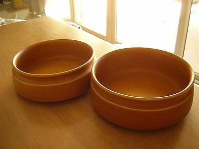 "Denby Langley English Orange-Brown 7"" Round Serving Bowls Set of Two Stoneware."