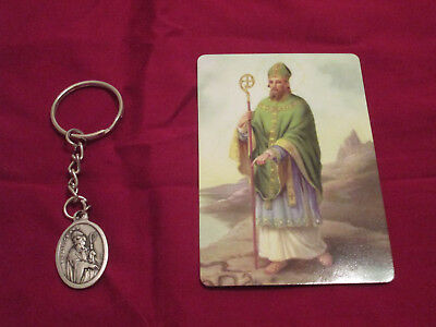St. Patrick medal on a (Split Key Ring) key chain and Holy card March 17 Feast