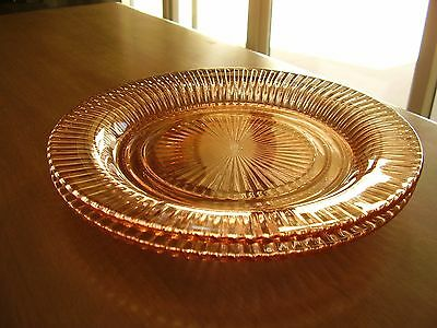 """Queen Mary Depression Glass Pink Dinner 10"""" Plates Set of Two FREE SHIPPING."""