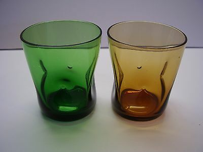 Thumbprint Style Mid Century Small Flat Tumblers Set of Two FREE SHIPPING